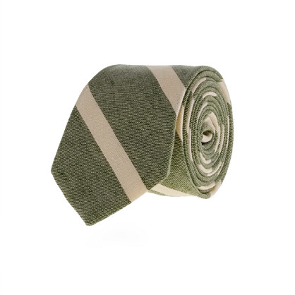 Macartney-stripe linen-cotton tie