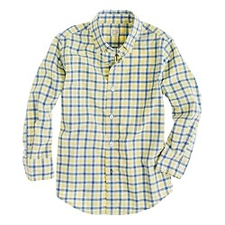 Boys' Secret Wash shirt in bright tattersall