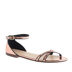 Elsa piped metallic sandals