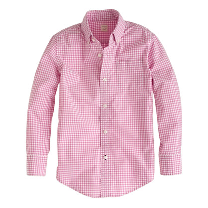 Boys' Secret Wash shirt in light petunia gingham