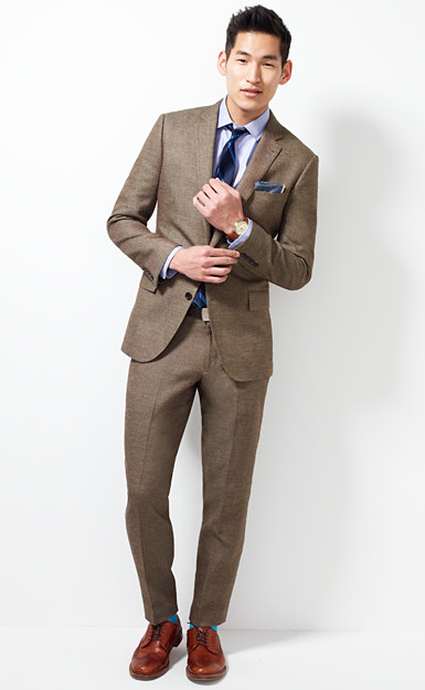 Ludlow suit jacket with double vent in Italian linen-cotton