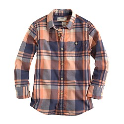 Boys' Indian cotton shirt in tropical plaid
