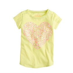 Girls' multicolor sequin heart tee