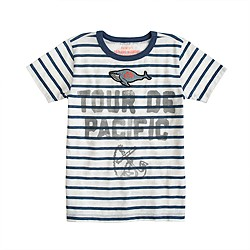 Boys' nautical stripe whale patch tee