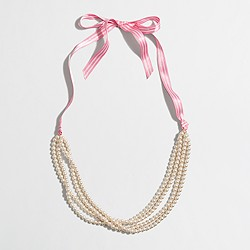 Factory girls' pearl and ribbon necklace