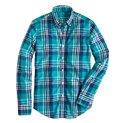 Slim lightweight shirt in havana blue plaid