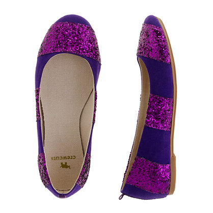 Girls' glitter-stripe ballet flats