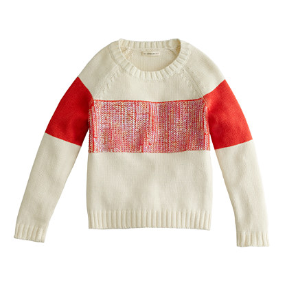Girls' sequin-stripe popover