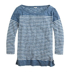 Engineered-stripe indigo boatneck top