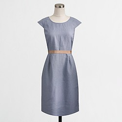 Factory ribbon-waist dress in lightweight linen