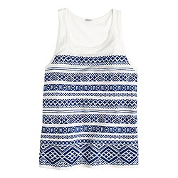 Embroidered stripe tank