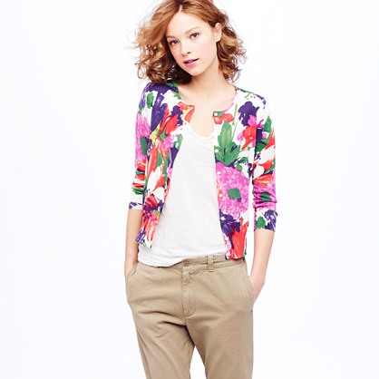 Cotton crepe cardigan in garden floral
