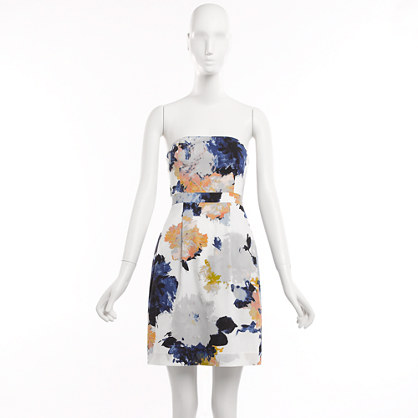 Factory strapless floral pleated dress