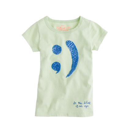 Girls' sequin winky face tee