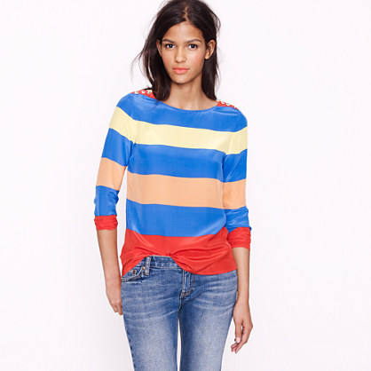 Scoopneck blouse in colorblock stripe