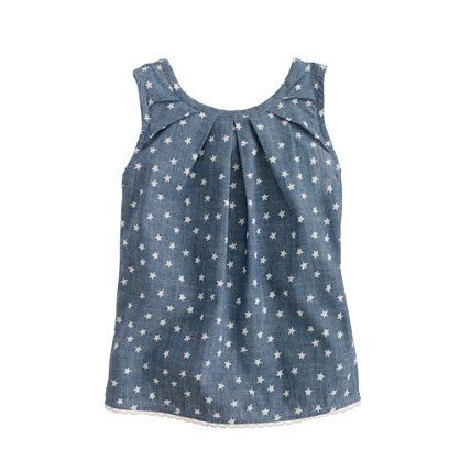 Girls' peek-a-boo top in star chambray