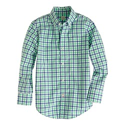 Boys' Secret Wash shirt in sea glass check