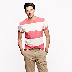 Slub jersey pocket tee in stripe