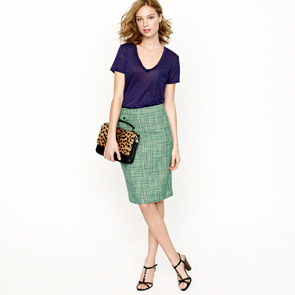 Petite No. 2 pencil skirt in Caribbean tweed