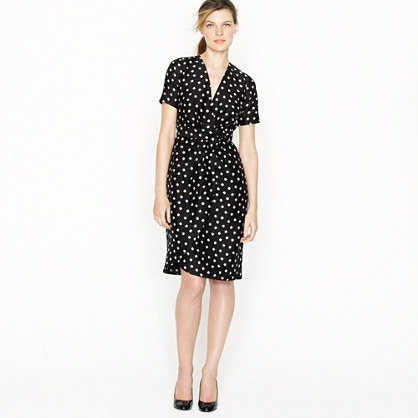 Wrap dress in moon dot - Day to Night - Women's dresses - J.Crew