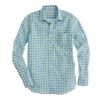 Secret Wash lightweight shirt in apple green tattersall