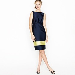 Colorblock silk V-back dress
