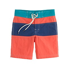 Boys' board shorts in island coral colorblock