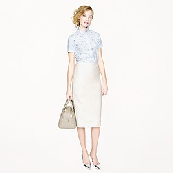 Petite long No. 2 pencil skirt in double-serge cotton