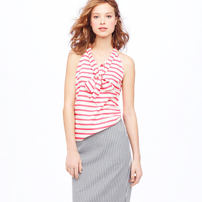 Silk bow cami in stripe