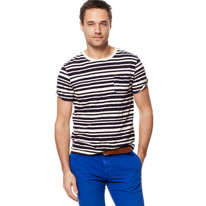 Slub jersey pocket tee in skipper stripe