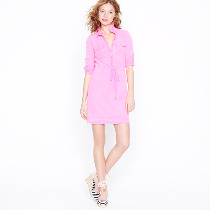 Petite garment-dyed drawstring shirtdress