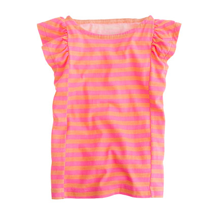 Girls' flutter tee in stripe