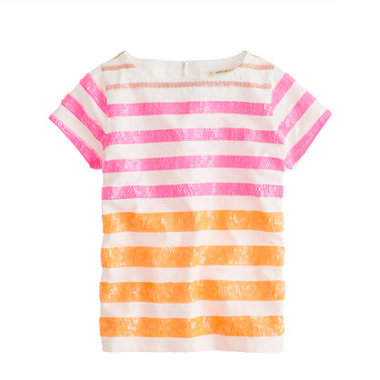 Girls' sequin stripe tee