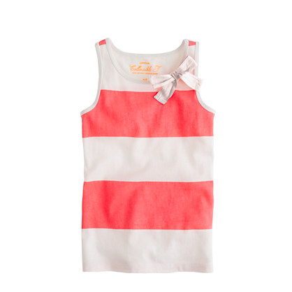 Girls' bow tank in rugby stripe