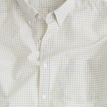 Washed Thomas Mason® fabric button-down slim-fit shirt in westerly tattersall