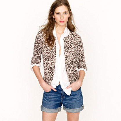 Cotton crepe cardigan in safari cat