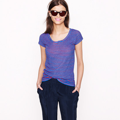 Vintage cotton cap-sleeve tee in stripe