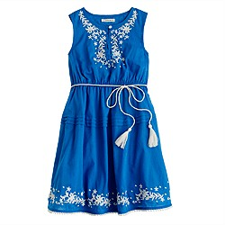 Girls' embroidered peasant dress