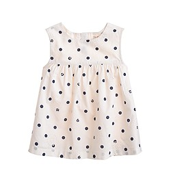 Girls' sleeveless eyelet dot tunic