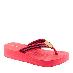 Stripe wedge flip-flops