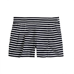 Pleated short in nautical stripe