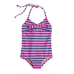 Girls' string halter tank in stripe