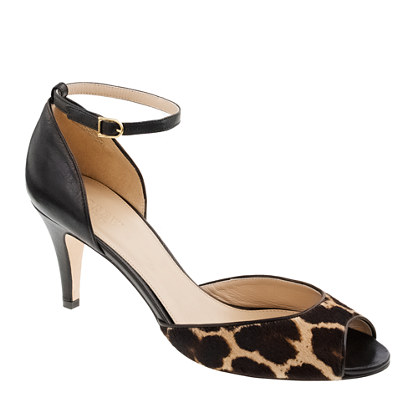 Collection Lara calf hair peep-toe heels