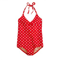 Girls' string halter tank in polka dot