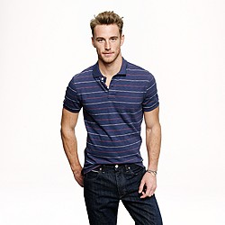 Slub jersey polo in pencil stripe
