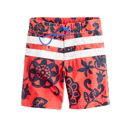 Boys' board short in racing stripe floral