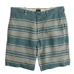 "9"" Stanton short in stripe linen"