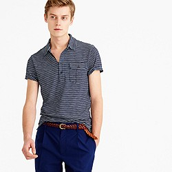 Indigo slub jersey polo in thin stripe