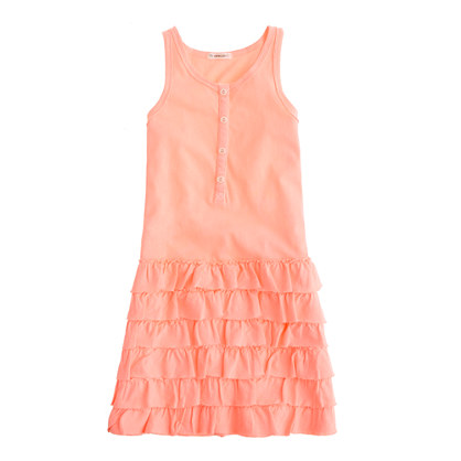 Girls' henley ruffle dress