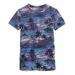 Girls' short-sleeve rash guard in Hawaiian sunset